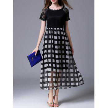 Lace Panel Geometric Print Dress