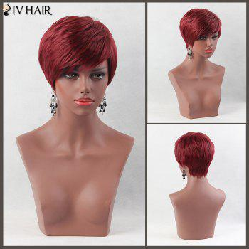 Fluffy Short Layered Oblique Bang Straight Siv Human Hair Wig - WINE RED WINE RED