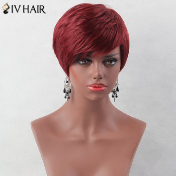 Fluffy Short Layered Oblique Bang Straight Siv Human Hair Wig -  WINE RED