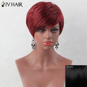 Fluffy Short Layered Oblique Bang Straight Siv Human Hair Wig - JET BLACK 01# JET BLACK