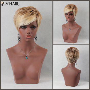 Colormix Fluffy Short Layered Inclined Bang Straight Siv Human Hair Wig - COLORMIX COLORMIX