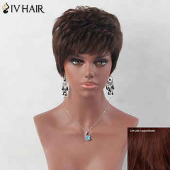 Layered Short Fluffy Inclined Bang Straight Siv Human Hair Wig