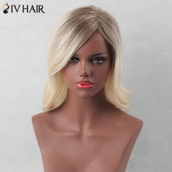 Side Parting Medium Colormix Slightly Curled Siv Human Hair Wig - COLORMIX