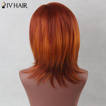Side Bang Medium Straight Bob Siv Human Hair Wig -  JET BLACK