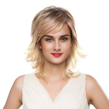 Inclined Bang Meidum Shaggy Layered Tail Upwards Human Hair Wig - COLORMIX COLORMIX