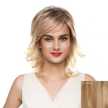 Inclined Bang Meidum Shaggy Layered Tail Upwards Human Hair Wig - BLONDE BLONDE
