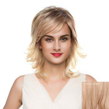Inclined Bang Meidum Shaggy Layered Tail Upwards Human Hair Wig - BROWN WITH BLONDE BROWN/BLONDE