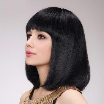 Straight Short Shaggy Neat Bang Bob Human Hair Wig -  JET BLACK