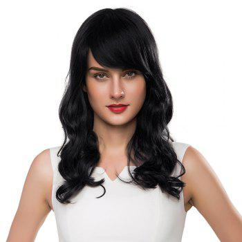 Side Bang Long Shaggy Wavy Human Hair Wig -  JET BLACK