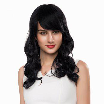Side Bang Long Shaggy Wavy Human Hair Wig - JET BLACK 01# JET BLACK