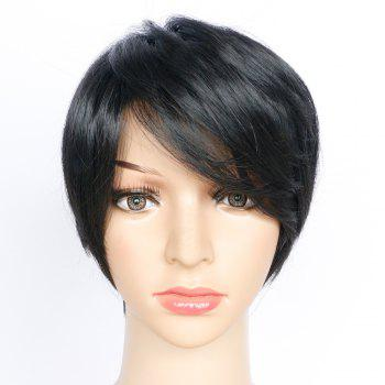 Side Bang Short Layered Glossy Straight Synthetic Wig - JET BLACK