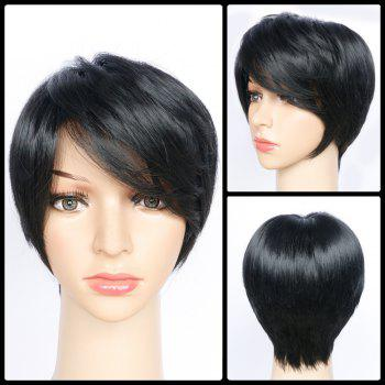 Side Bang Short Layered Glossy Straight Synthetic Wig - JET BLACK 01# JET BLACK