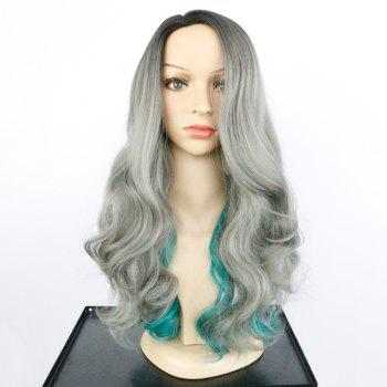 Side Parting Long Fluffy Colormix Wavy Synthetic Wig -  COLORMIX