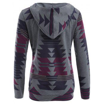 Drawstring Geometric Print Hoodie with Pocket - GRAY GRAY