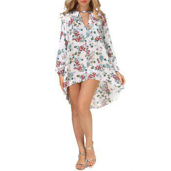 Long Sleeves Floral Print High Low Dress - FLORAL XL