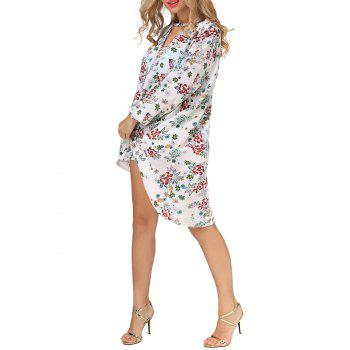 Long Sleeves Floral Print High Low Dress - S S