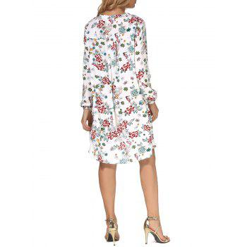 Long Sleeves Floral Print High Low Dress - FLORAL FLORAL