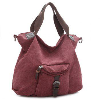 Casual Buckle Strap Canvas Tote Bag