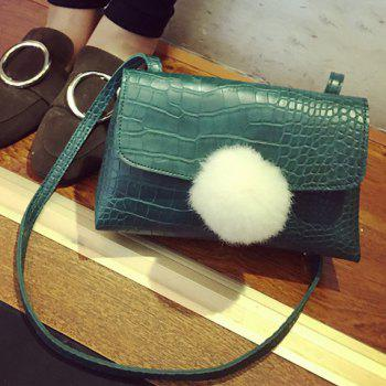 Crocodile Embossed Pom Poms Crossbody Bag