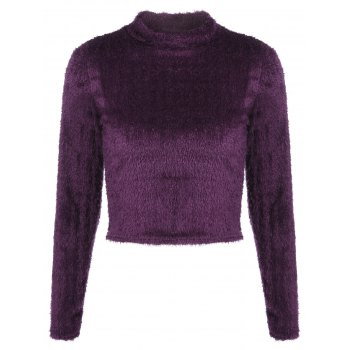 Fuzzy Cropped Pullover Sweater
