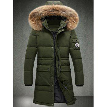 Buy Badge Faux Fur Collar Hooded Longline Coat ARMY GREEN
