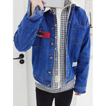 Applique Borg Collar Button Up Denim Jacket