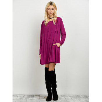 Long Sleeves T-Shirt Dress - WINE RED M