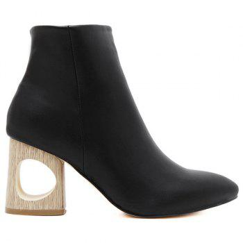 Zipper Hollow Out Pointed Toe Ankle Boots - BLACK 38