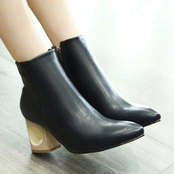 Zipper Hollow Out Pointed Toe Ankle Boots - BLACK BLACK