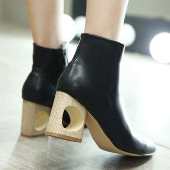 Zipper Hollow Out Pointed Toe Ankle Boots - 38 38