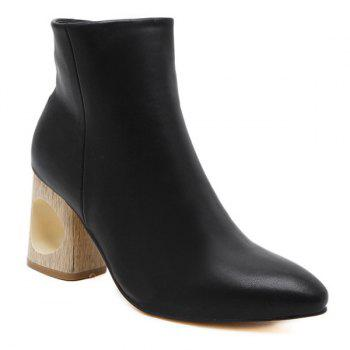 Zipper Hollow Out Pointed Toe Ankle Boots