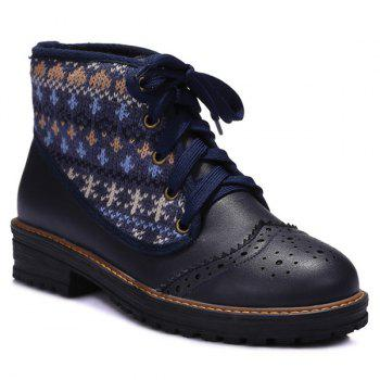 Knit Panel Lace Up Wingtip Boots - BLUE BLUE