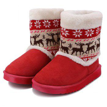 Christmas Knit Panel Fuzzy Snow Boots - 39 39