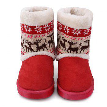 Christmas Knit Panel Fuzzy Snow Boots - RED RED