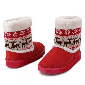 Christmas Knit Panel Fuzzy Snow Boots - RED 39