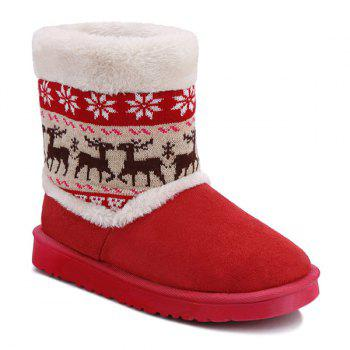 Christmas Knit Panel Fuzzy Snow Boots - RED 38