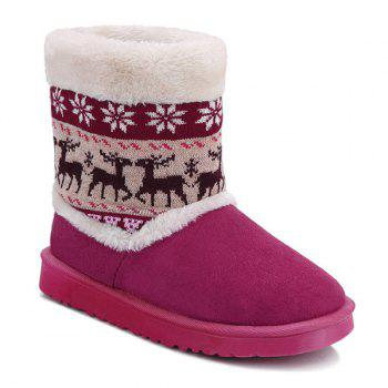 Christmas Knit Panel Fuzzy Snow Boots