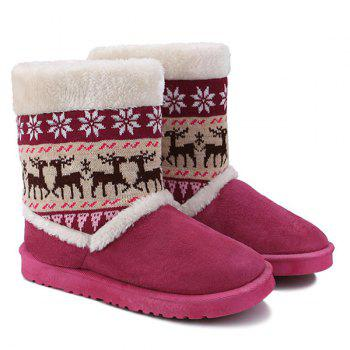 Christmas Knit Panel Fuzzy Snow Boots - ROSE RED 38