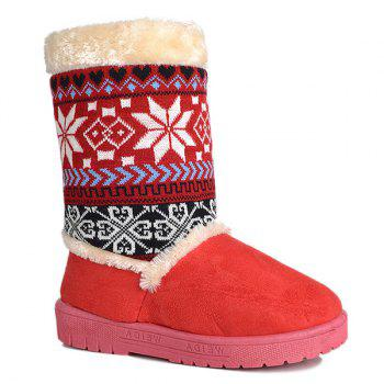 Knit Panel Mid Calf Fuzzy Snow Boots - RED 38