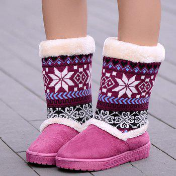 Knit Panel Mid Calf Fuzzy Snow Boots - PURPLE PURPLE