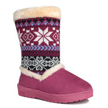 Knit Panel Mid Calf Fuzzy Snow Boots - PURPLE 38