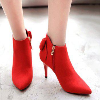 Back Bowknot Stiletto Heel Ankle Boots - RED 38