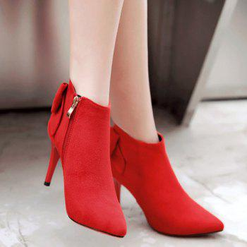 Back Bowknot Stiletto Heel Ankle Boots - 38 38