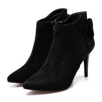 Back Bowknot Stiletto Heel Ankle Boots - BLACK 37