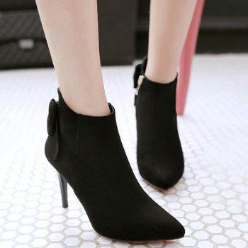 Back Bowknot Stiletto Heel Ankle Boots - BLACK BLACK