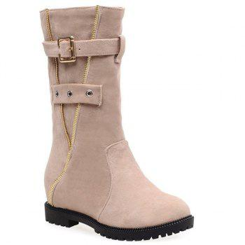 Eyelet Buckle Strap Mid Calf Boots