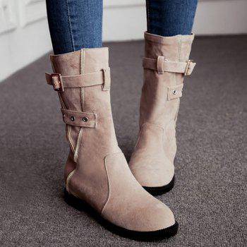 Eyelet Buckle Strap Mid Calf Boots - APRICOT APRICOT