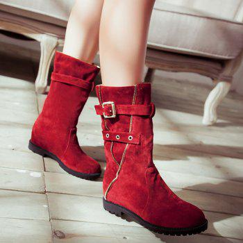Eyelet Buckle Strap Mid Calf Boots - RED 39
