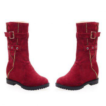 Eyelet Buckle Strap Mid Calf Boots - RED RED