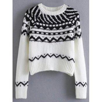 Jacquard Knit Cropped Sweater